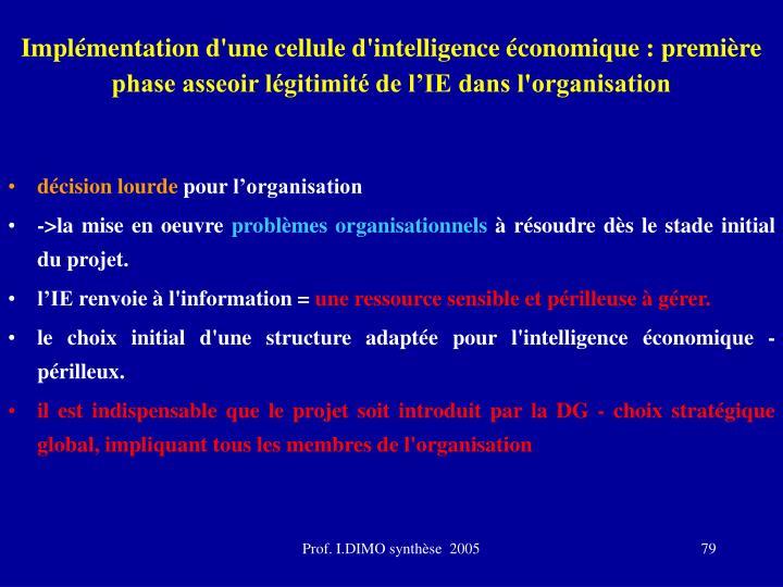 Implémentation d'une cellule d'intelligence économique : première phase asseoir légitimité de l'IE dans l'organisation