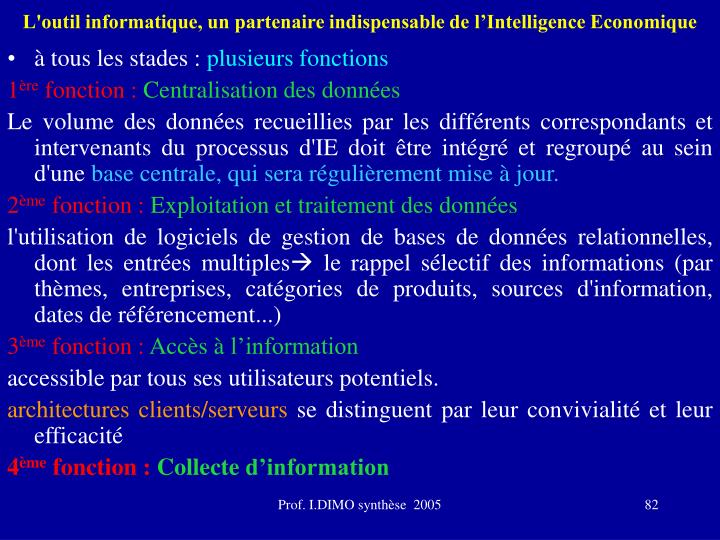 L'outil informatique, un partenaire indispensable de l'Intelligence Economique