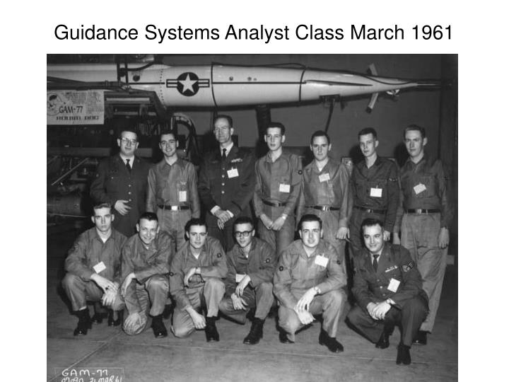 Guidance Systems Analyst Class March 1961