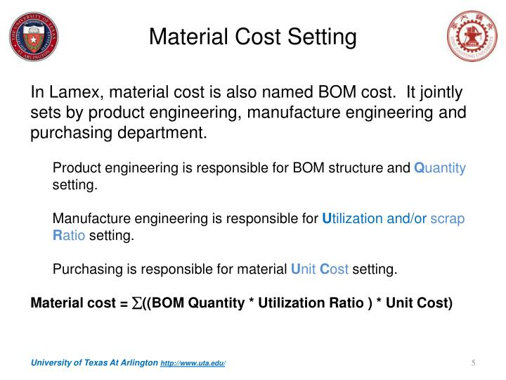 Material Cost Setting