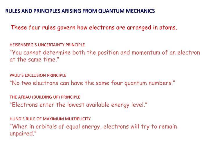 RULES AND PRINCIPLES ARISING FROM QUANTUM MECHANICS