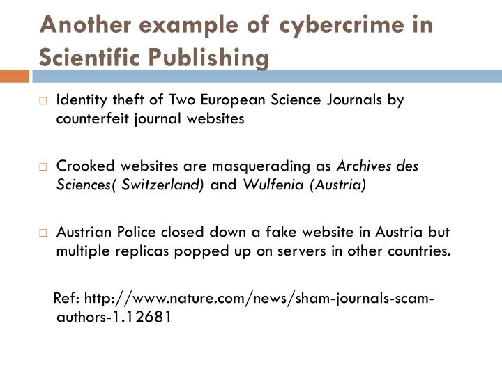 Another example of cybercrime in Scientific Publishing