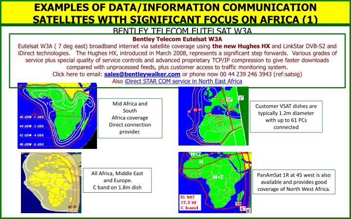 EXAMPLES OF DATA/INFORMATION COMMUNICATION SATELLITES WITH SIGNIFICANT FOCUS ON AFRICA (1)