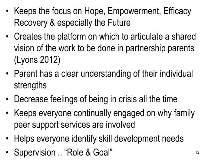 Keeps the focus on Hope, Empowerment, Efficacy Recovery & especially the Future