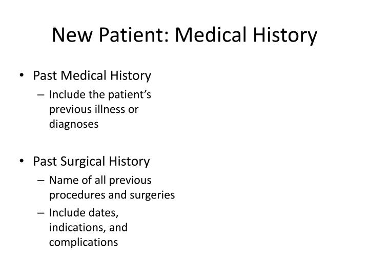 New Patient: Medical History