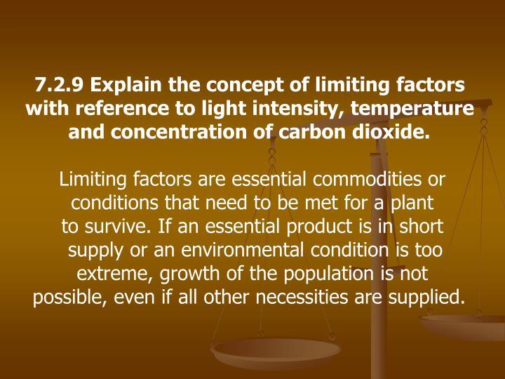 7.2.9 Explain the concept of limiting factors