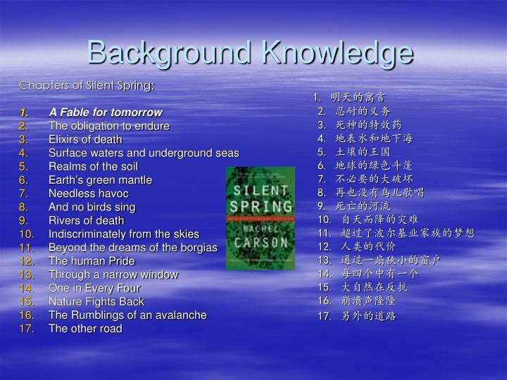Ppt unit 15 a fable for tomorrow powerpoint presentation id6222853 background knowledge5 chapters of silent spring altavistaventures Gallery