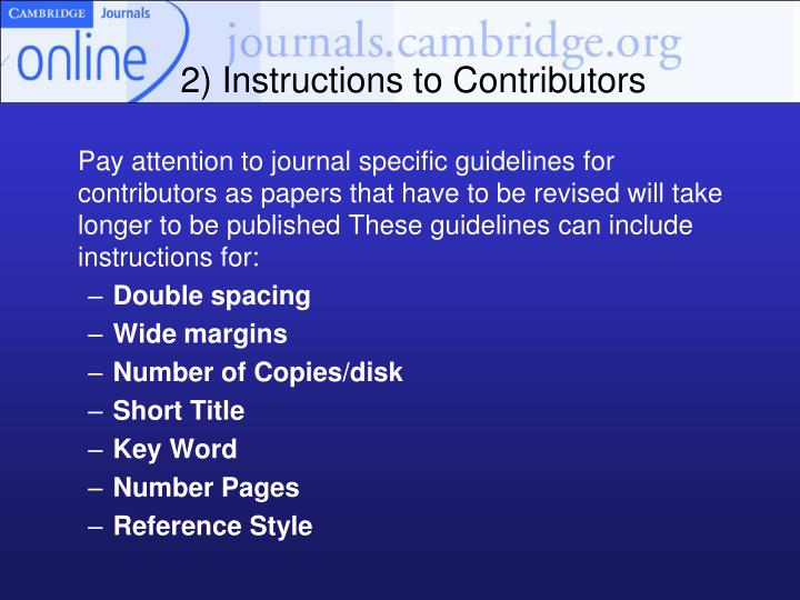 2) Instructions to Contributors