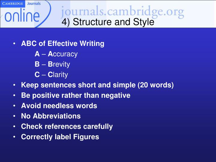 4) Structure and Style