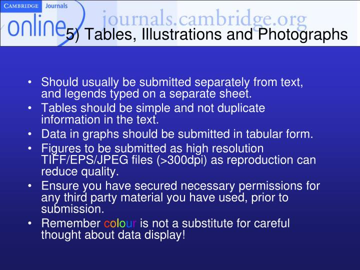 5) Tables, Illustrations and Photographs