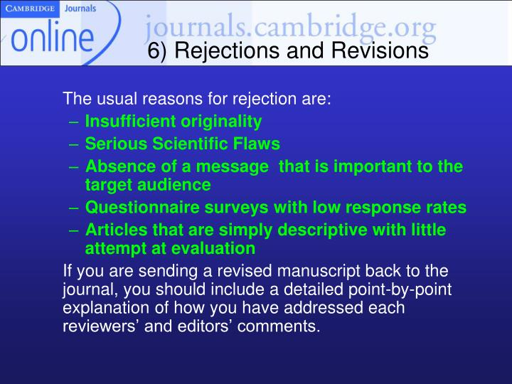 6) Rejections and Revisions