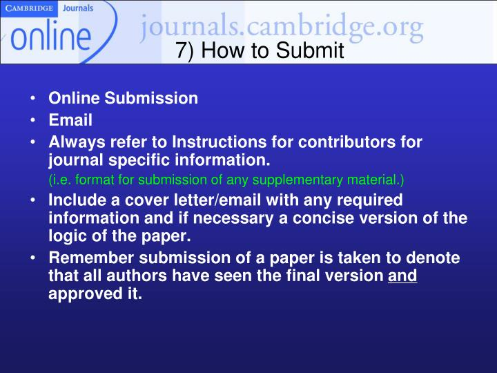 7) How to Submit