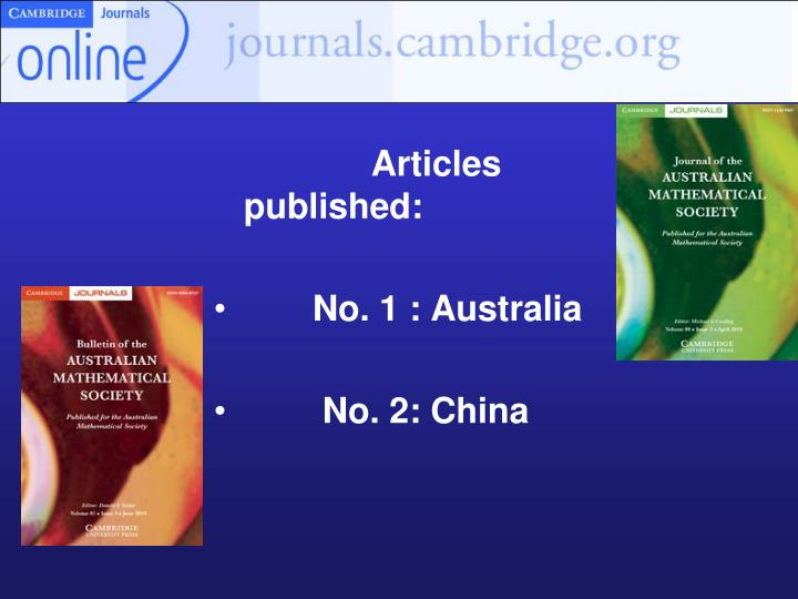 Articles published: