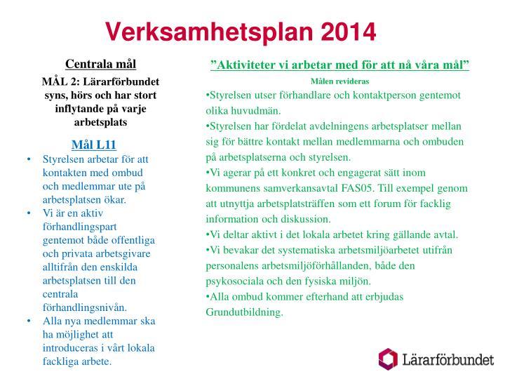 Verksamhetsplan 20141