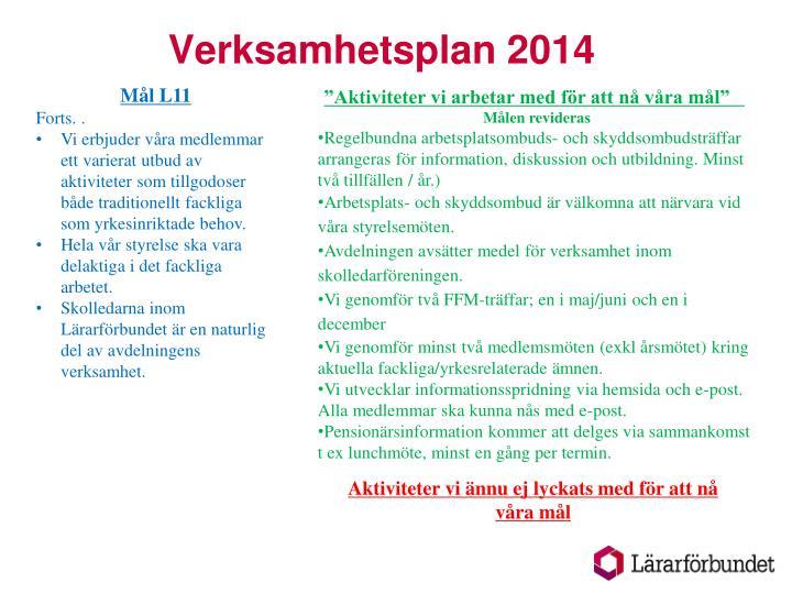 Verksamhetsplan 20142