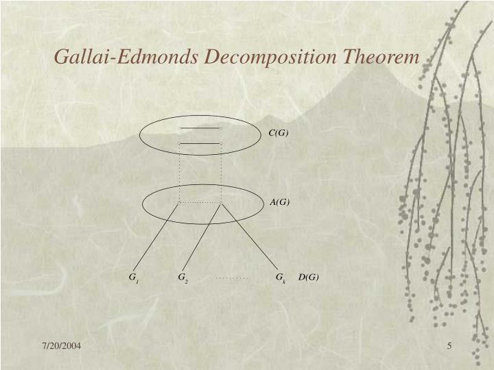 Gallai-Edmonds Decomposition Theorem