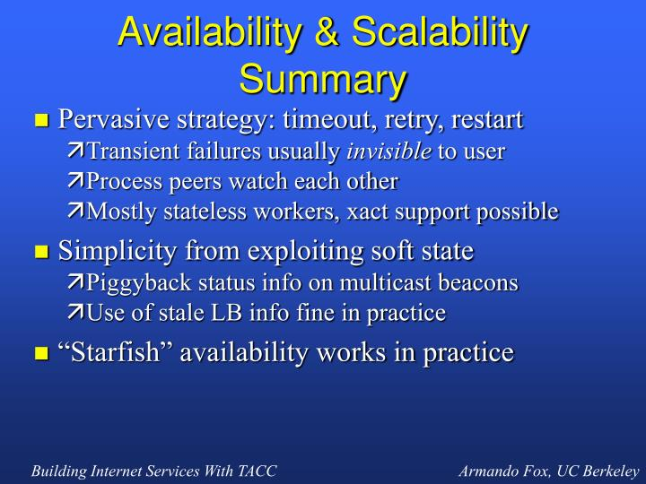 Availability & Scalability Summary