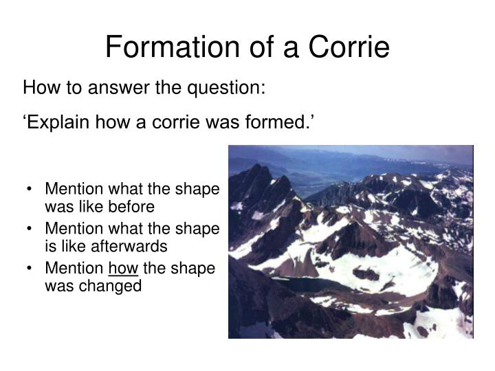 Formation of a corrie
