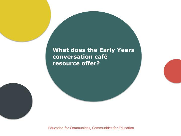 What does the Early Years conversation café resource offer?
