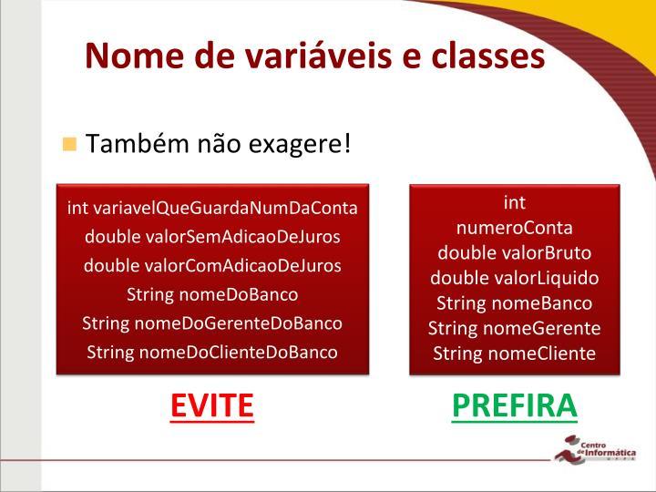 Nome de variáveis e classes