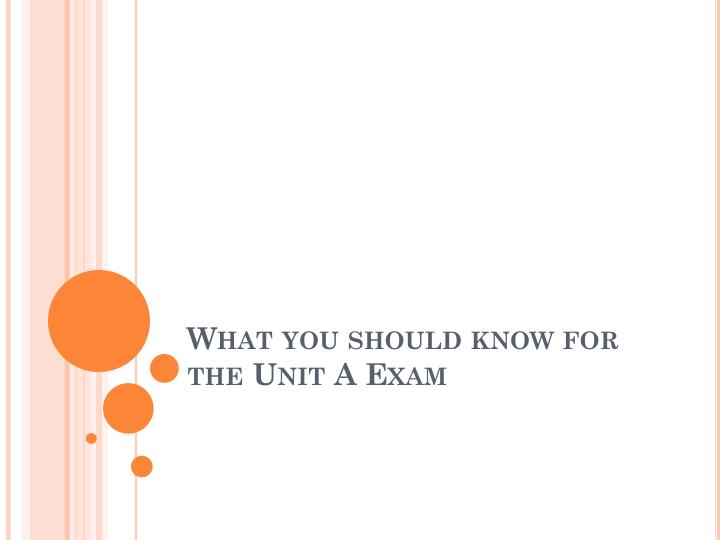 what you should know for the unit a exam n.