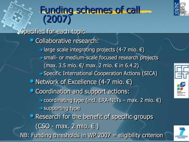 Funding schemes of call