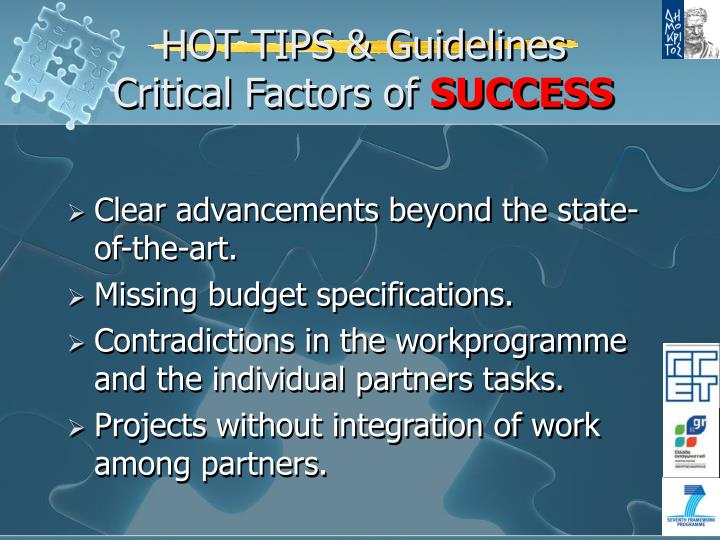 HOT TIPS & Guidelines