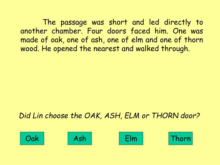 The passage was short and led directly to another chamber. Four doors faced him. One was made of oak, one of ash, one of elm and one of thorn wood. He opened the nearest and walked through.