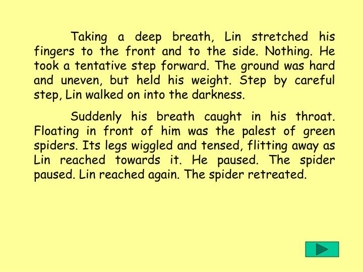 Taking a deep breath, Lin stretched his fingers to the front and to the side. Nothing. He took a tentative step forward. The ground was hard and uneven, but held his weight. Step by careful step, Lin walked on into the darkness.