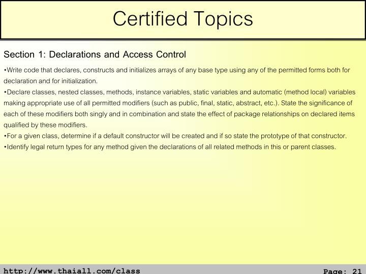 Certified Topics