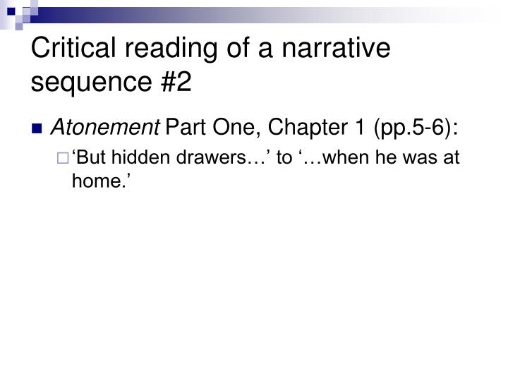 Critical reading of a narrative sequence #2