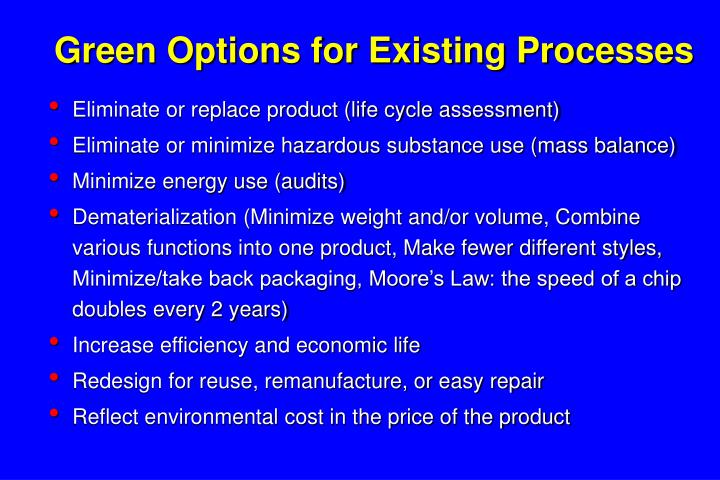 Green Options for Existing Processes