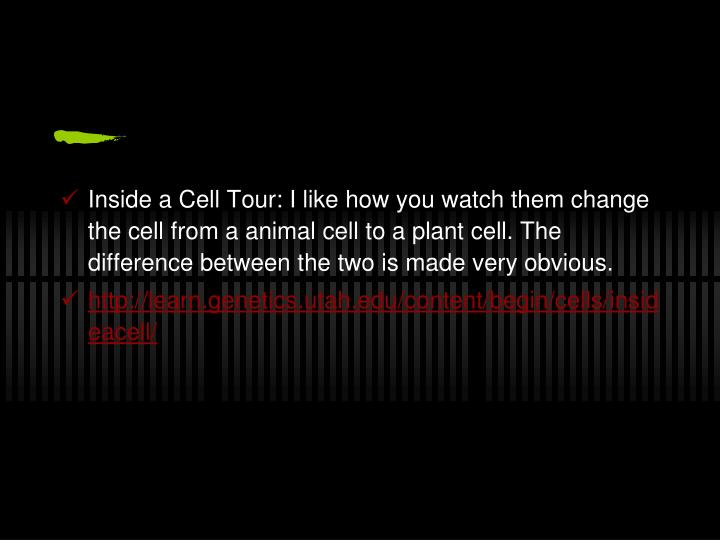 Inside a Cell Tour: I like how you watch them change the cell from a animal cell to a plant cell. The difference between the two is made very obvious.