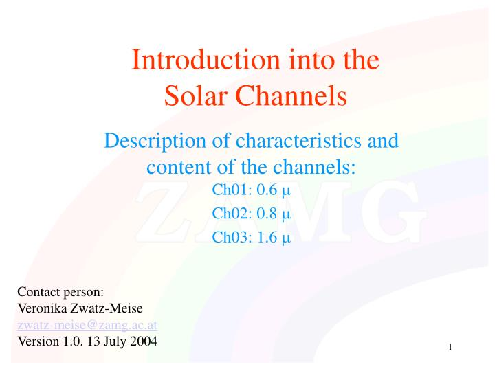 introduction into the solar channels n.