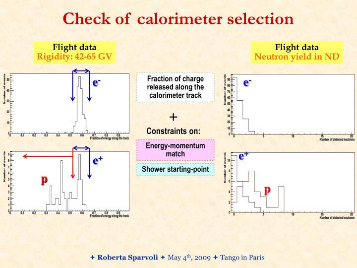 Check of calorimeter selection