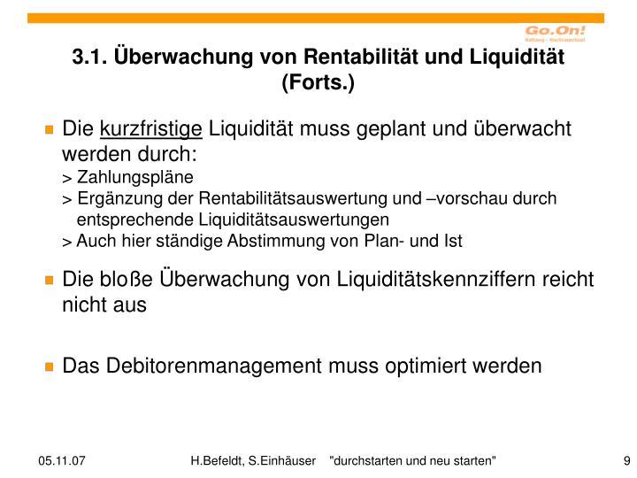 3.1. Überwachung von Rentabilität und Liquidität (Forts.)