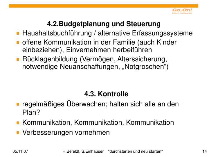 4.2.Budgetplanung und Steuerung