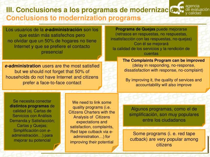 III. Conclusiones a los programas de modernización//