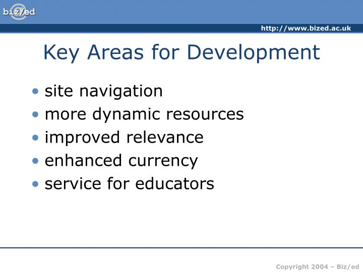 Key Areas for Development