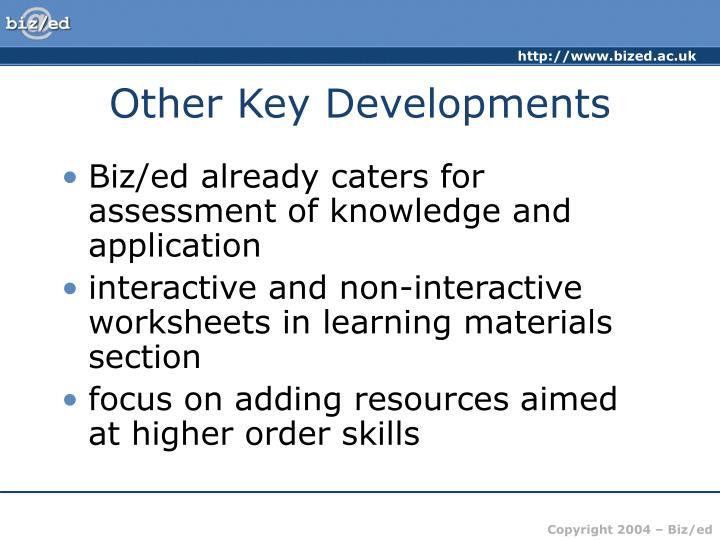 Other Key Developments