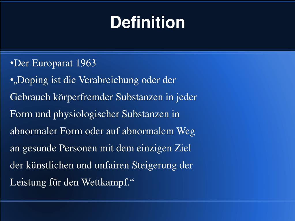 Doping Definition