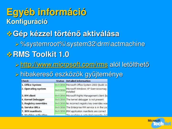 Egyéb információ