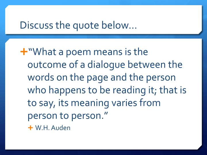 Discuss the quote below…
