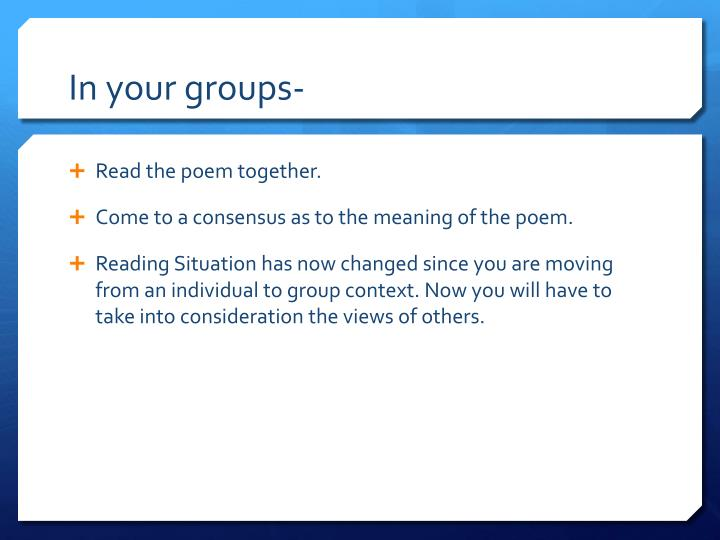 In your groups-