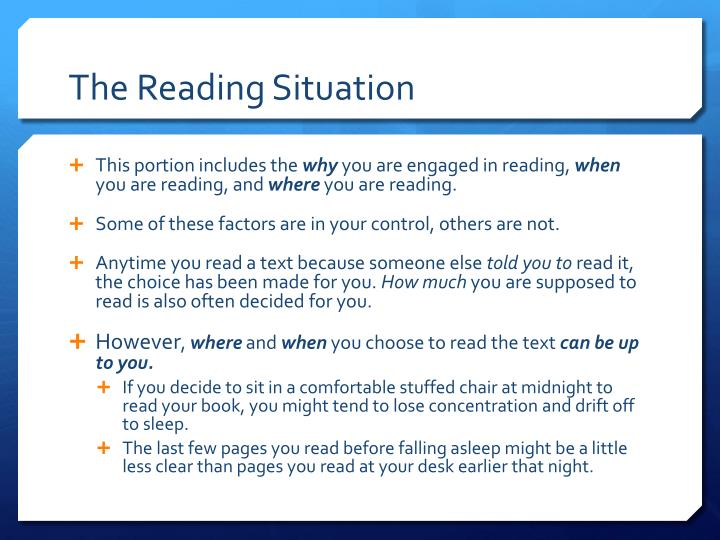 The Reading Situation