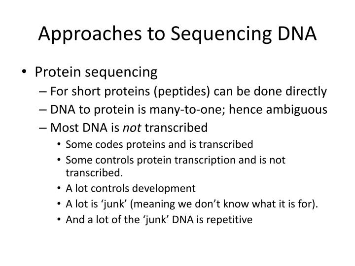 Approaches to Sequencing DNA