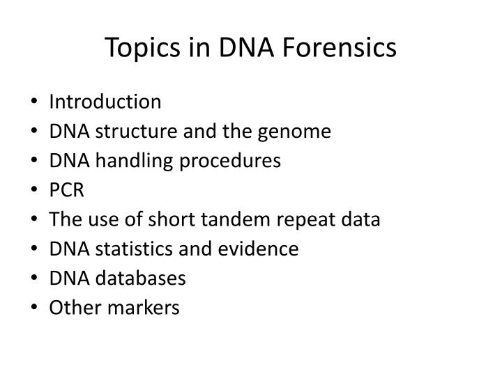Topics in dna forensics