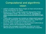 computational and algorithmic vision