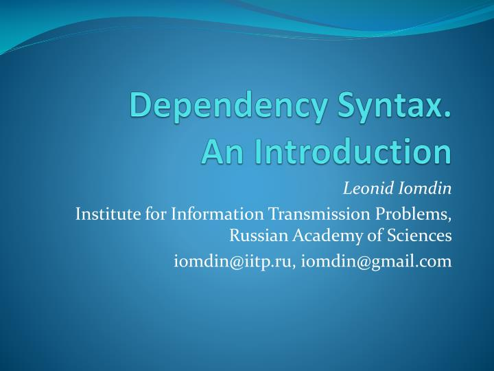 dependency syntax an introduction