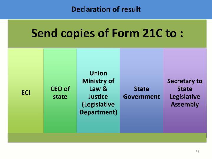 Declaration of result